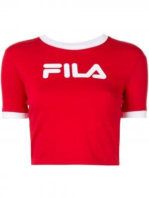 Укороченная футболка с логотипом Fila. Цвет: красный