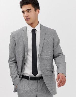 Приталенный пиджак в ломаную клеточку -Серый Esprit