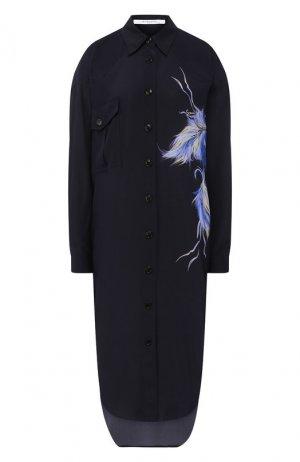 Шелковое платье Givenchy. Цвет: синий