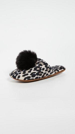 Cashmere Leopard Pom Slippers Minnie Rose