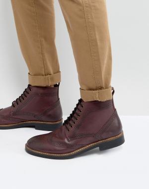 Бордовые кожаные ботинки броги Frank Wright. Цвет: красный
