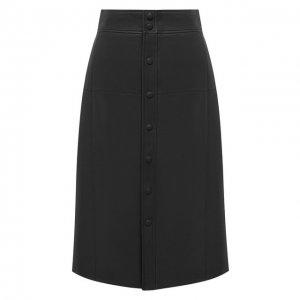 Кожаная юбка Saint Laurent. Цвет: чёрный