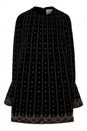 Короткое платье с блестящей вышивкой Gucci. Цвет: черный