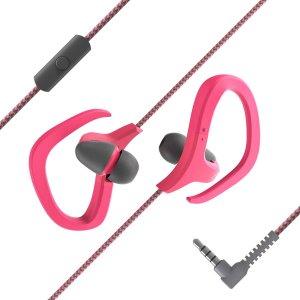 Гарнитура спортивный проводной в ухе SHEIN. Цвет: розовые