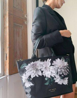Маленькая нейлоновая сумка-тоут с небольшим цветочным принтом -Черный Ted Baker
