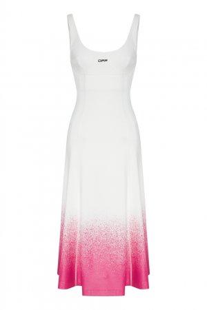 Белое платье с розовым принтом Off-white. Цвет: белый
