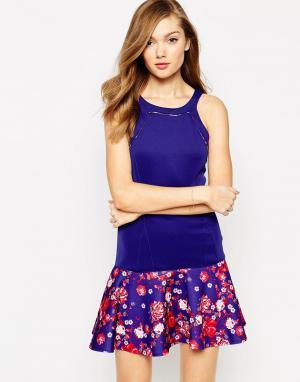 Платье без рукавов с цветочным принтом Yasmine Boulee. Цвет: rosebud