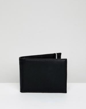 Черный бумажник с полосатым эластичным ремешком New Look. Цвет: черный
