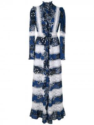 Платье-рубашка миди Vicenza с принтом Martha Medeiros. Цвет: синий