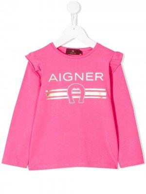 Топ с длинными рукавами и логотипом Aigner Kids. Цвет: розовый