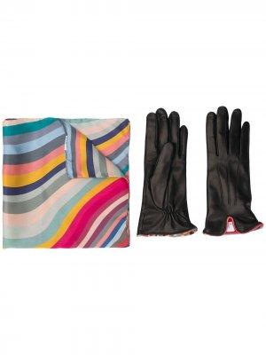 Шейный платок с изогнутыми полосками Paul Smith. Цвет: розовый