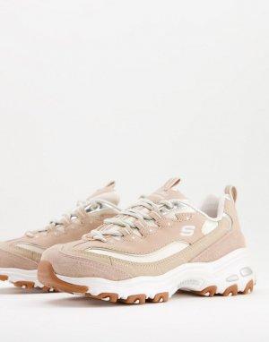 Светло-коричневые кроссовки DLites-Коричневый цвет Skechers