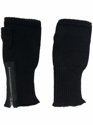 Перчатки-митенки на молнии Yohji Yamamoto. Цвет: черный