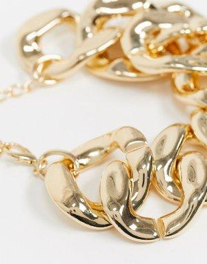 Золотистое броское ожерелье из цепочки с крупными звеньями ASOS DESIGN-Золотой