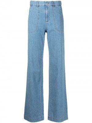 Широкие джинсы с завышенной талией A.P.C.. Цвет: синий