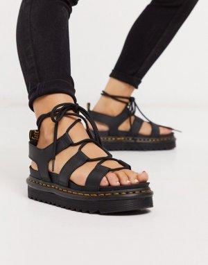Сандалии на массивной подошве со шнуровкой -Черный Dr Martens