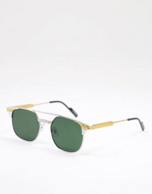 Круглые солнцезащитные очки унисекс в серебристой оправе с зелеными линзами Grit-Серебристый Spitfire
