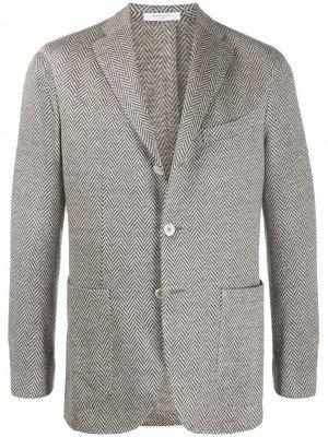 Пиджак с узором в елочку Boglioli. Цвет: серый