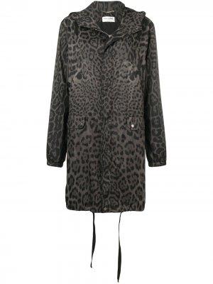 Леопардовая парка с капюшоном Saint Laurent. Цвет: серый