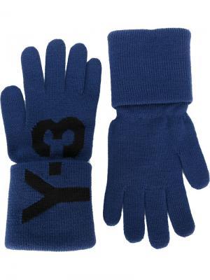 Перчатки с логотипом Y-3. Цвет: синий
