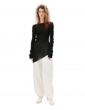 Черный асимметричный пуловер Maison Margiela