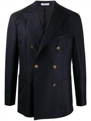 Двубортный пиджак с заостренными лацканами Boglioli. Цвет: синий