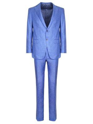 Костюм классический шелковый Zilli. Цвет: голубой