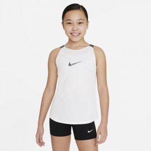 Майка для тренинга девочек школьного возраста Dri-FIT Elastika - Белый Nike