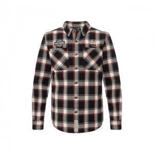 Хлопковая рубашка Garage Harley-Davidson. Цвет: разноцветный
