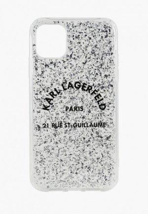 Чехол для iPhone Karl Lagerfeld 11 Pro Max, Liquid glitter Rue Saint Guillaume Hard Silver. Цвет: серебряный