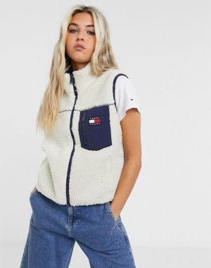Светло-бежевый жилет из искусственного меха с карманом и логотипом -Neutral Tommy Jeans