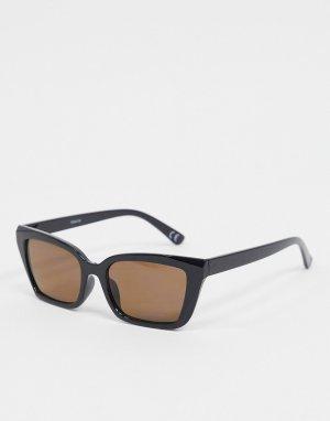 Солнцезащитные очки в черной квадратной оправе с коричневыми стеклами -Черный ASOS DESIGN