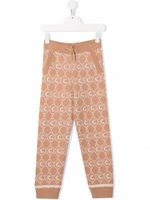 C-jacquard knitted trousers Chloé Kids. Цвет: нейтральные цвета
