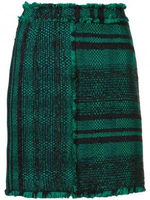 Твидовая фактурная мини-юбка Proenza Schouler. Цвет: черный