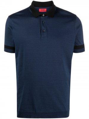 Рубашка поло с контрастной отделкой BOSS. Цвет: синий
