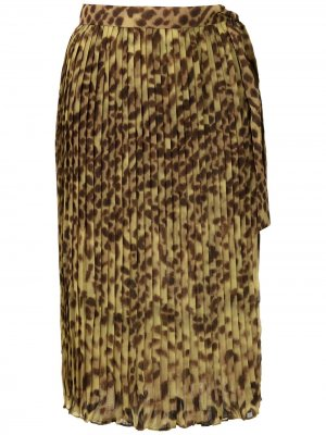 Саронг с леопардовым принтом и плиссировкой Adriana Degreas. Цвет: желтый
