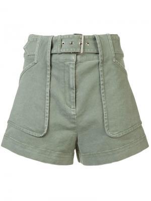Шорты с карманами и поясом на талии Derek Lam 10 Crosby. Цвет: зеленый