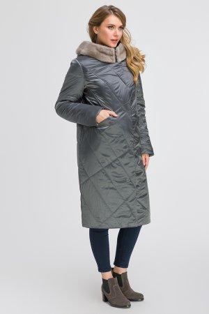 Стеганое длинное пальто с норкой на большой размер Garioldi. Цвет: серо-голубой