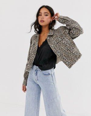 Джинсовая куртка с гепардовым принтом -Коричневый Free People