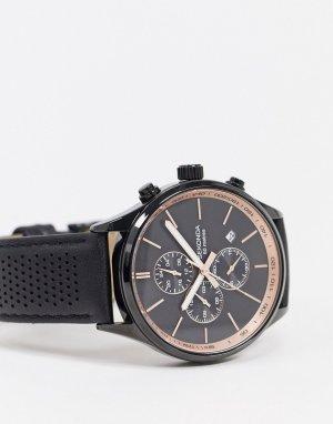 Черные часы с кожаным ремешком и хронографом -Черный Sekonda