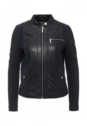 Куртка кожаная Tommy Hilfiger. Цвет: синий