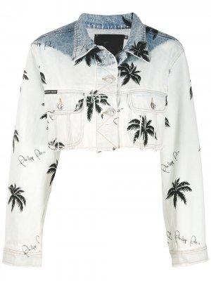 Укороченная джинсовая куртка с принтом Paradise Philipp Plein. Цвет: синий