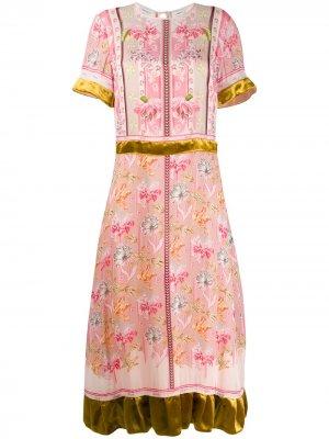 Платье Tigerlilly с оборками на подоле Liberty London. Цвет: розовый