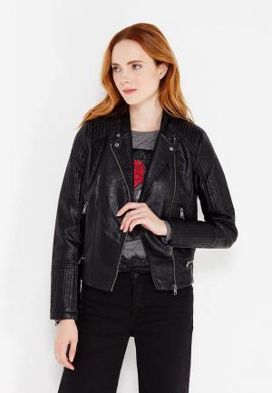 Куртка кожаная Pepe Jeans. Цвет: черный