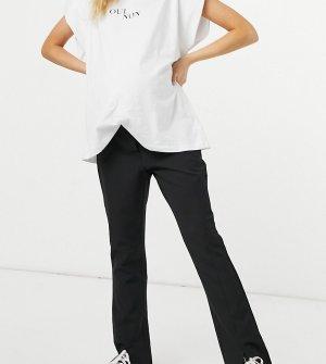 Черные брюки с разрезами спереди PIECES Maternity-Черный цвет Maternity