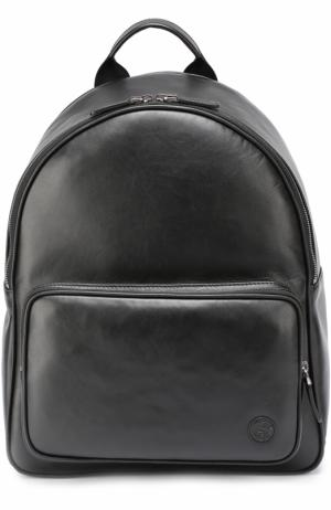Кожаный рюкзак с внешним карманом на молнии Giorgio Armani. Цвет: чёрный