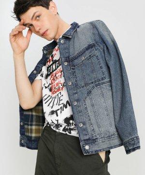 Джинсовая куртка на подкладке O`Stin. Цвет: синий