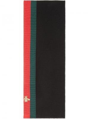 Кашемировый шарф с отделкой Web Gucci. Цвет: черный
