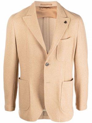 Однобортный кашемировый пиджак Gabriele Pasini. Цвет: нейтральные цвета