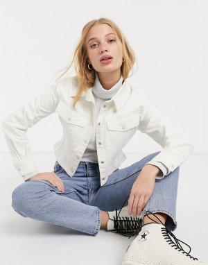 Светло-бежевая джинсовая куртка -Белый Weekday